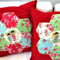 Applique Hexagon Patchwork Cushion