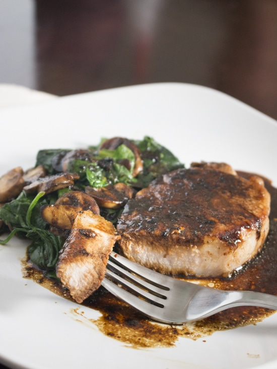One Pan Pork Chops with Spinach and Mushrooms