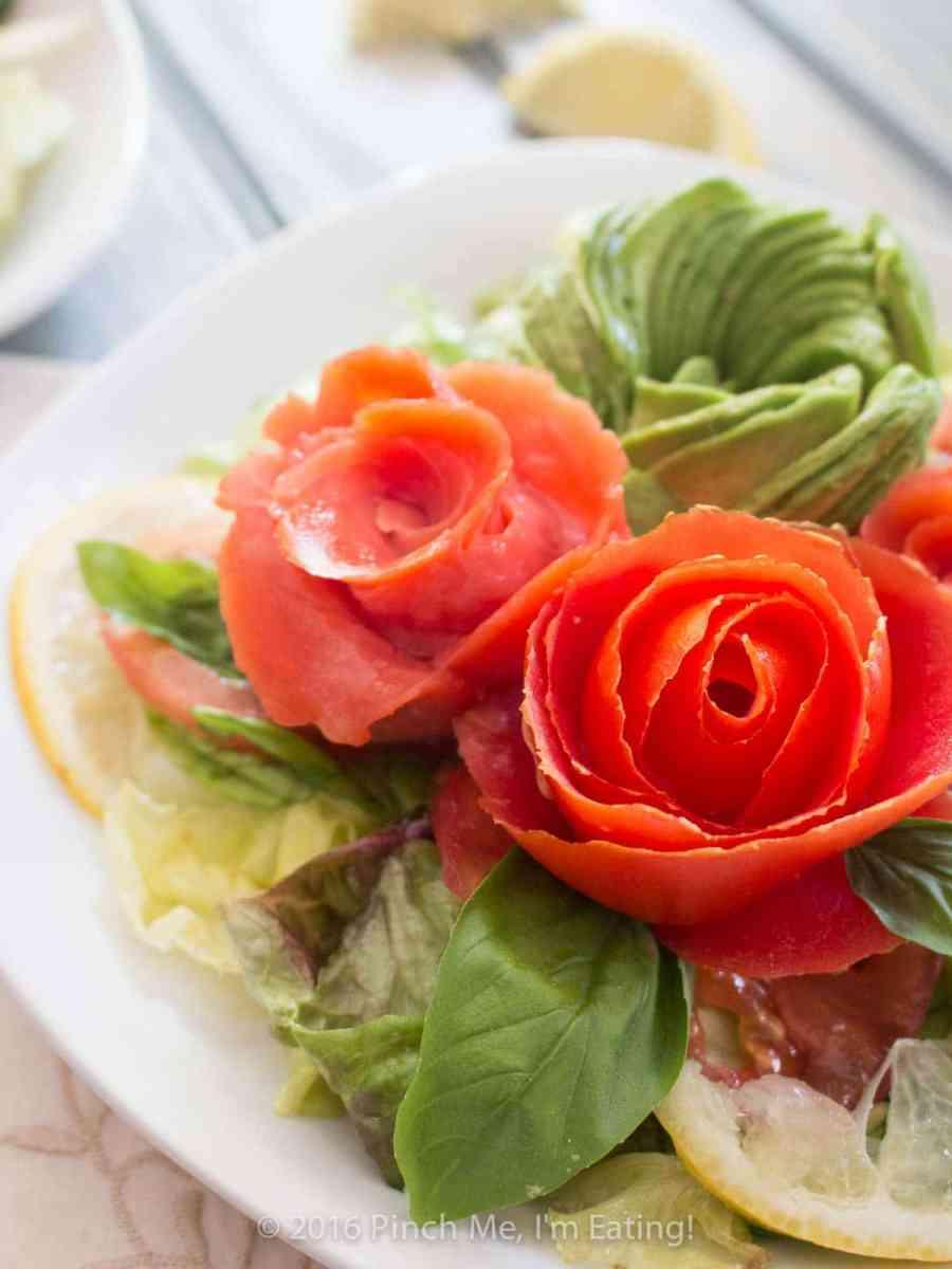 Smoked salmon, tomato, and avocado rose salad