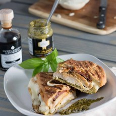 This pesto chicken panini sandwich is crispy on the outside, juicy on the inside, full of flavor, and oozing with melty cheese. Need I say more?