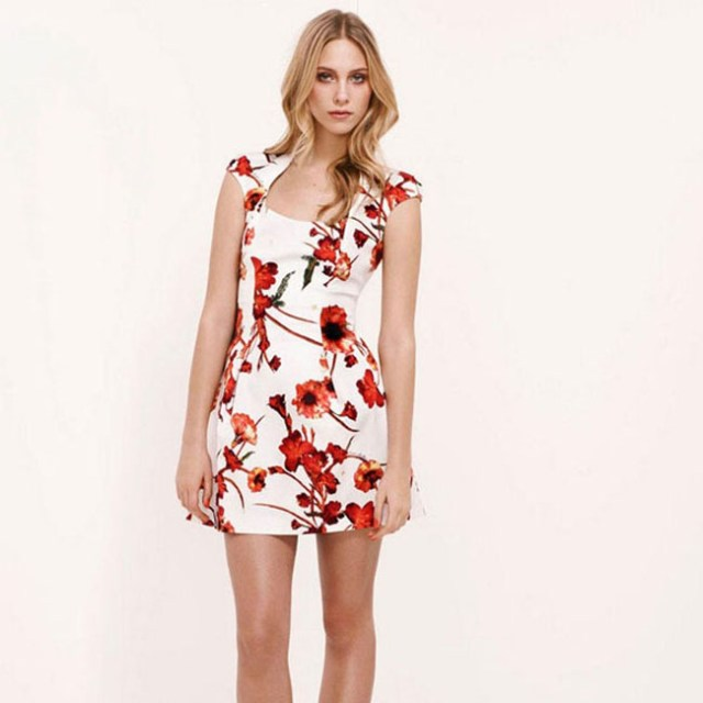 white with red flowers evening mini dresses