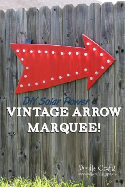 eat at joes vintage red arrow diy solar power light up marquee hanging sign cafe bulb lights and plywood easy tutorial (29)