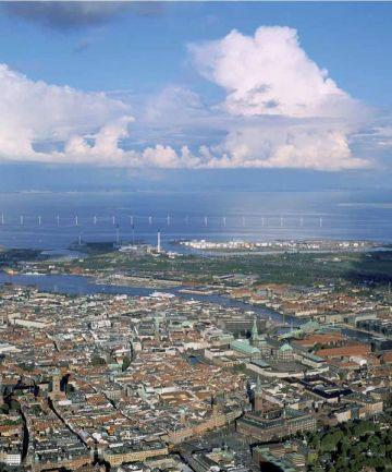 Copenhagen e il parco eolico di Middelgrunen