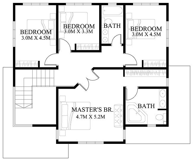 Design Floor Plans 4 three bedroom home Modern House Design 2012006 Second Floor Planresize599502 Modern House Designs Such As