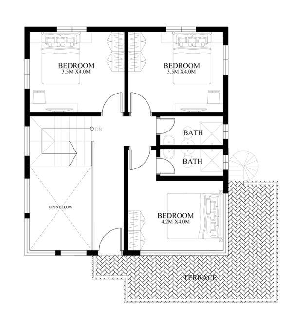 Modern house designs series mhd 2014010 pinoy eplans for Second floor design plans