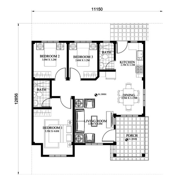 Small house design shd 2015013 pinoy eplans modern for Home floor plans with estimated cost to build