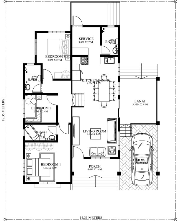 Althea   Elevated Bungalow House Design   Pinoy ePlans   Modern    FLOOR PLAN  elevated bungalow house plan