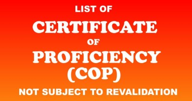 COP Not Subject To Revalidation According To MARINA