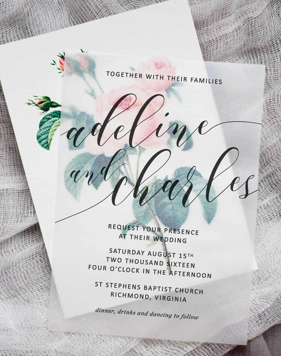 Luxurious Make Se Floral Wedding Invitations Using Nothing More Than A Storebought Vellum Diy Floral Wedding Invitations Pipkin Paper Company Paper Company Morris Il Paper Company Cardstock inspiration The Paper Company