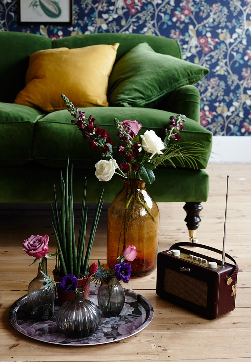 Floral living room, photographs Jo Henderson, Styling Pippa Jameson. Liberty style sofa and wallpaper.