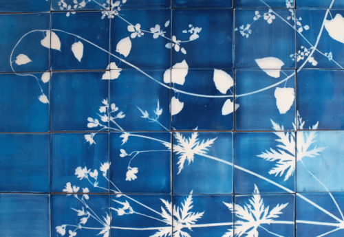 blueware sun printed tiles from studio glithero