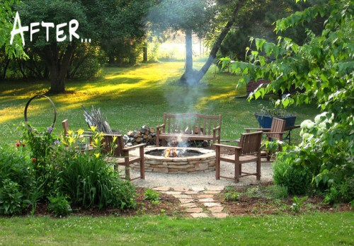 before and after garden makeover firepit from erin