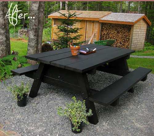 before and after garden table picnic bench