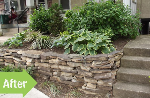 retaining wall, stone, hosta, improvement, landscape, after