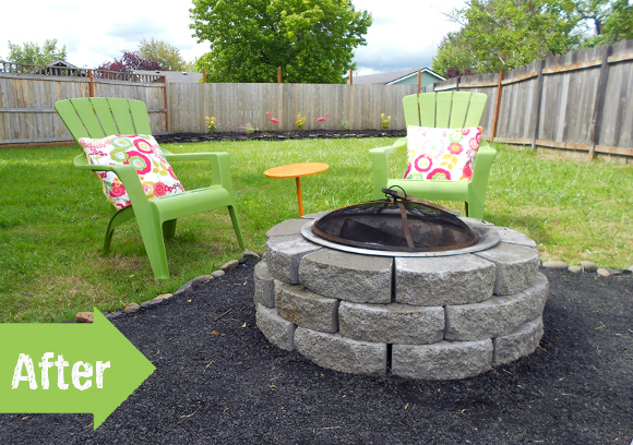 privacy fence, adirondack, firepit, makeover, backyard