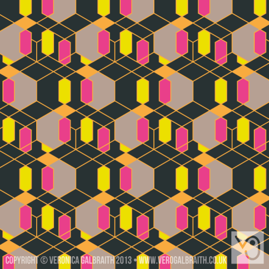 'Glowing Matrix' surface pattern design by Veronica Galbraith | Pitter Pattern