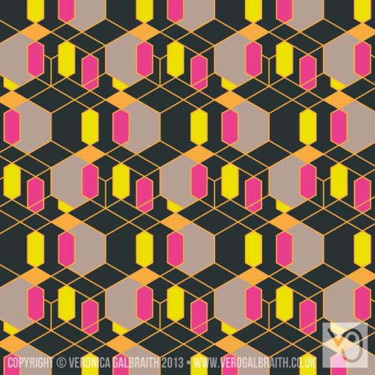 'Glowing Matrix' surface pattern design by Veronica Galbraith | Pitter Pattern