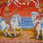 372 - Cavalieri in riva al mare 35x50
