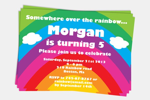 Rainbow Party Invitation by Pixiebear Party Printables