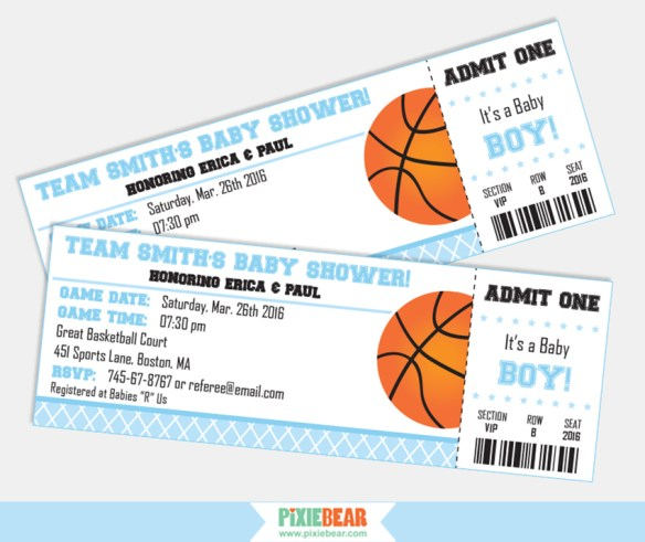 Basketball Baby Shower Invitation by Pixiebear.com