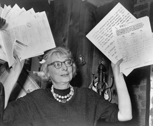 Jane Jacobs as chairperson of a Greenwich Village civic group at a 1961 press conference.