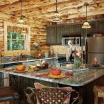Cocina rústica estilo cabaña con paredes y techo de troncos