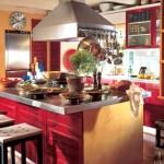 Cocina rústica decorada en color rojo