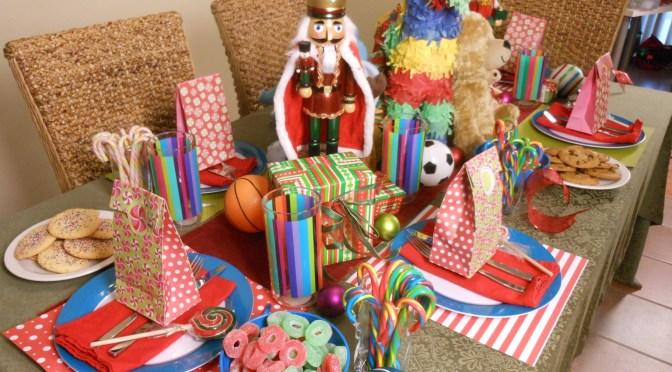 mesa dulce navideña colorida