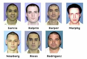 FILE--Prison inmates Joseph Garcia, Randy Halprin, Larry Harper, Patrick Murphy Jr., Donald Newbury, George Rivas, and Michael Rodriguez, in these undated Texas prison handout photos, escaped Wednesday, Dec. 13, 2000, from the prison near Kenedy, Texas. Capital murder charges were filed against all seven convicts, who remained on the loose Monday, Dec. 25, 2000, for the Christmas Eve killing of Irving, Texas, Police Officer Aubry Hawkins, 29, during a sporting goods store robbery. (AP Photo/Texas Dept.of Criminal Justice, File)
