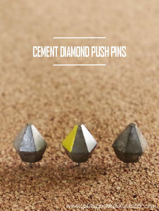 DIY Diamond Cement Push Pins - Plaster & Disaster