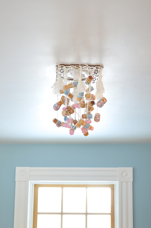 Bloggeriest craft projects -- color dipped Pantone cork chandelier -- Plaster & Disaster