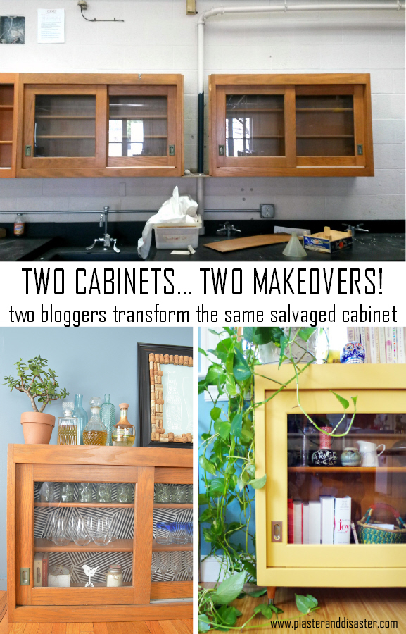 Two bloggers transform the same salvaged cabinet in two very different projects - Plaster & Disaster