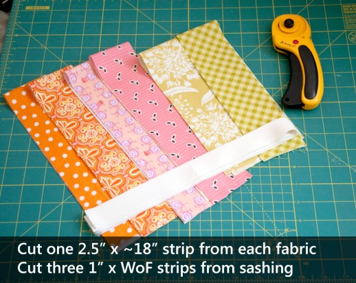 "Cut one 2.5"" x 18"" strip from each of your feature fabrics, and cut three 1"" x WoF (44"") strips from your sashing fabric."