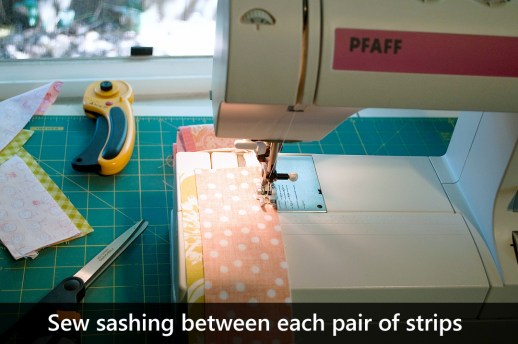 Sew each pair of strips with a strip of sashing between them.
