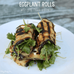 Grilled eggplant roll recipe with crispy bacon, arugula, and goat cheese - the perfect combination of crunchy and creamy!
