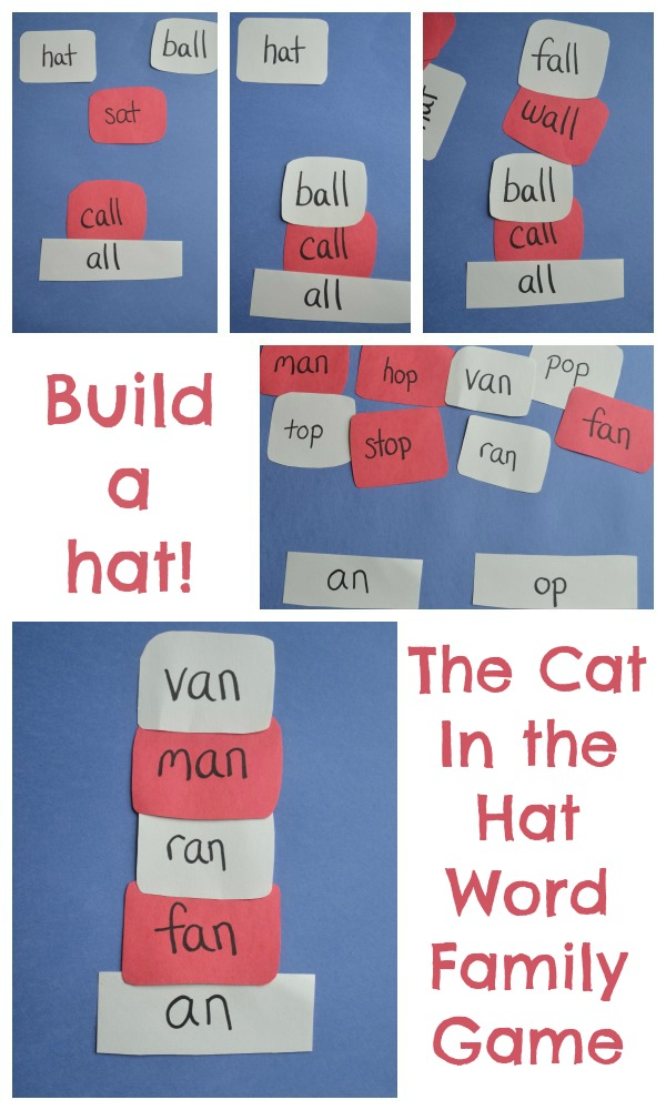 "Play with word families by building ""Cat in the Hat"" hats"