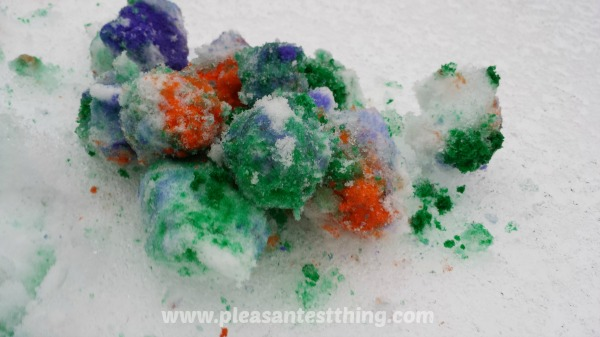 Have a colorful rainbow snowball fight on your next snow day!