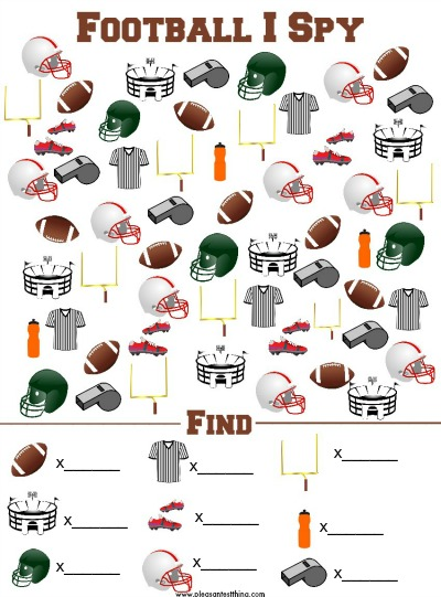 Football I Spy Printable Game