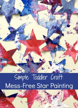 Simple craft for toddlers and babies - red, white, and blue star paintings!