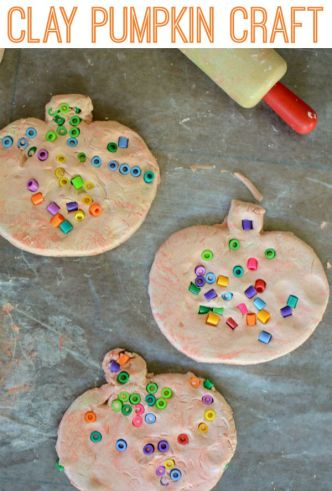 Clay pumpkin craft! Easy craft for Halloween, great for fine motor practice and so CUTE!