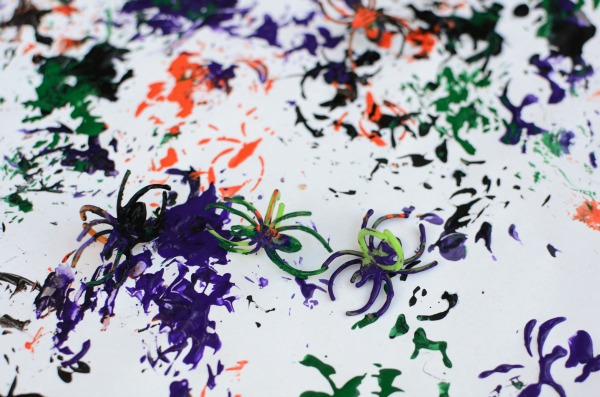 Halloween painting idea - use spider rings!