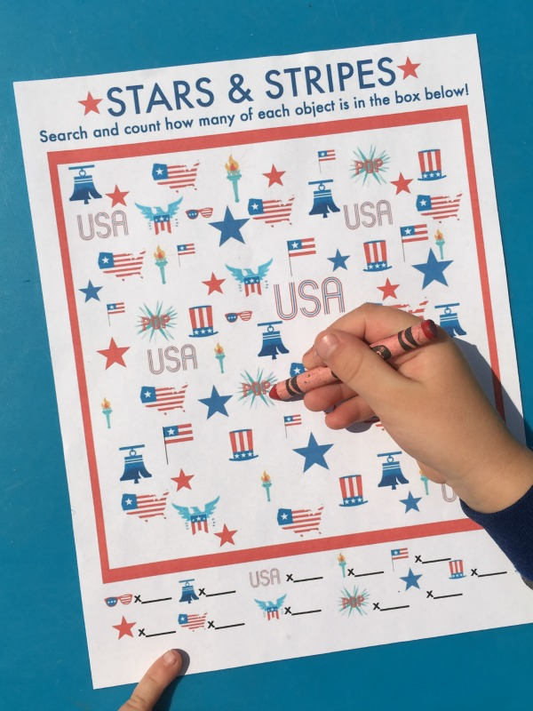 Printable game for kids to celebrate the Stars and Stripes! Print out and play this I Spy game!