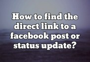 Where is the direct link to a facebook status update?