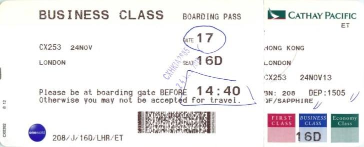 CX253 Cathay Pacific Business Class Boarding Pass