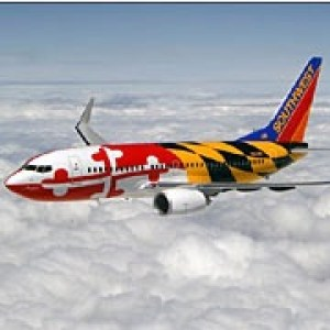 southwest airlines maryland flag plane