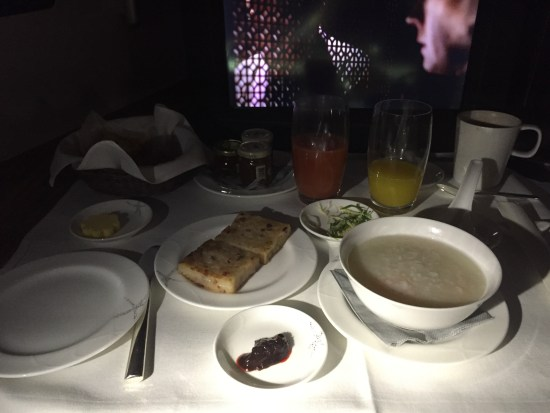 flight review cathay pacific first class review flight hkg lax krug breakfast