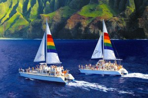 Blue Dolphin Charters sailing along NaPali cliffs