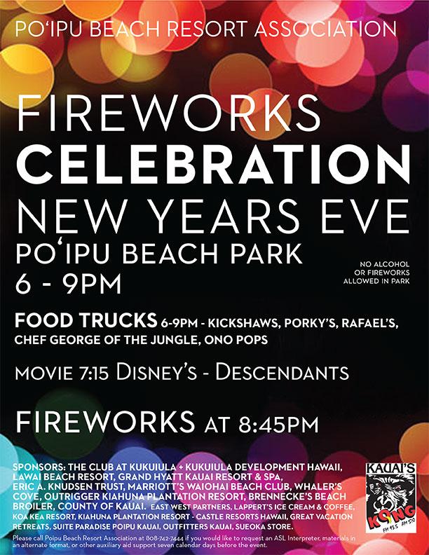 Kauai New Years Eve Fireworks in Poipu