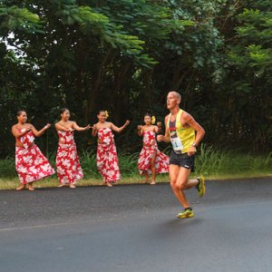 Kauai Marathon hula dancers