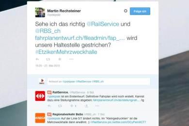 So funktioniert Social Media - Danke an @railservice und @RBS_CH
